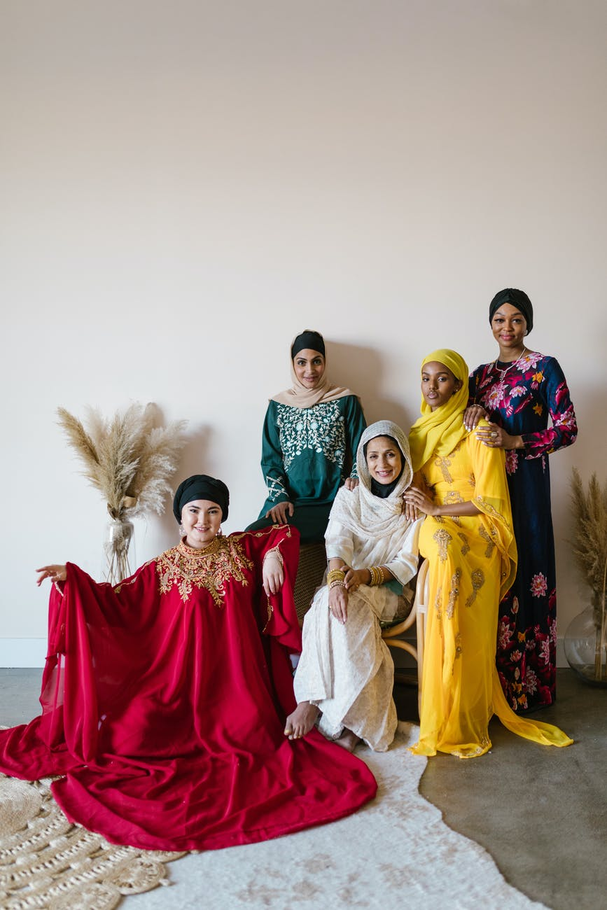 group of people wearing traditional dress